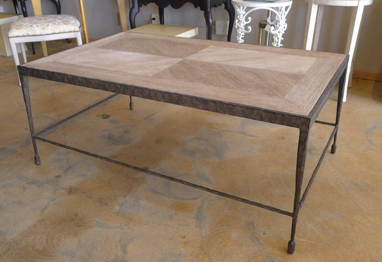 Modern Textured Iron and Wood Coffee Table For Sale 2
