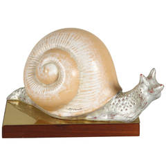 Hand-Painted Italian 1970s Snail Sculpture