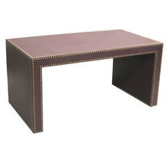 Large French Studded Leather Desk