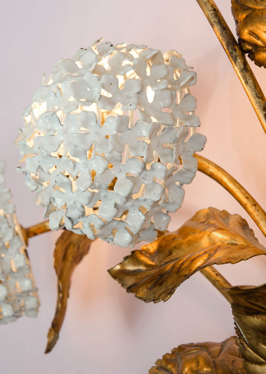 Brass Rare 1950s US Hydrangea Wall Light For Sale