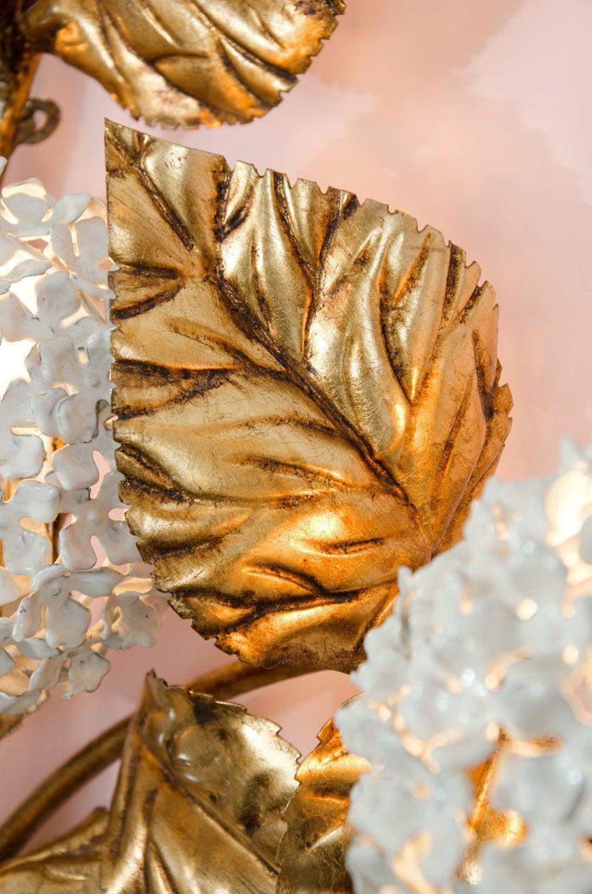 Brass Rare 1950s US Hydrangea Wall Light For Sale