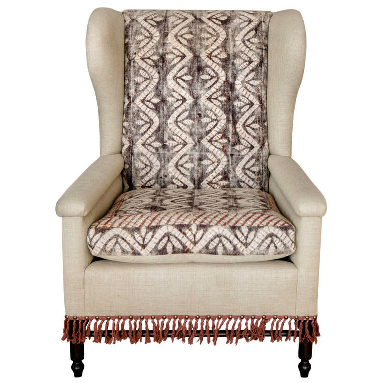 Bohemian Early 20th Century Wingback Pair Chairs For Sale