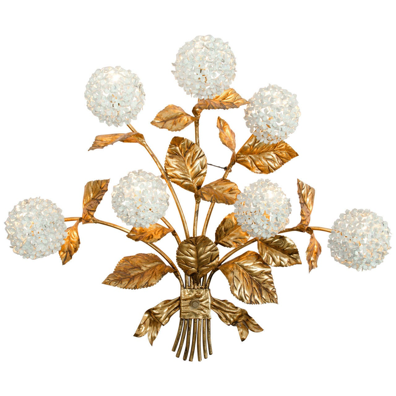 Rare 1950s US Hydrangea Wall Light For Sale