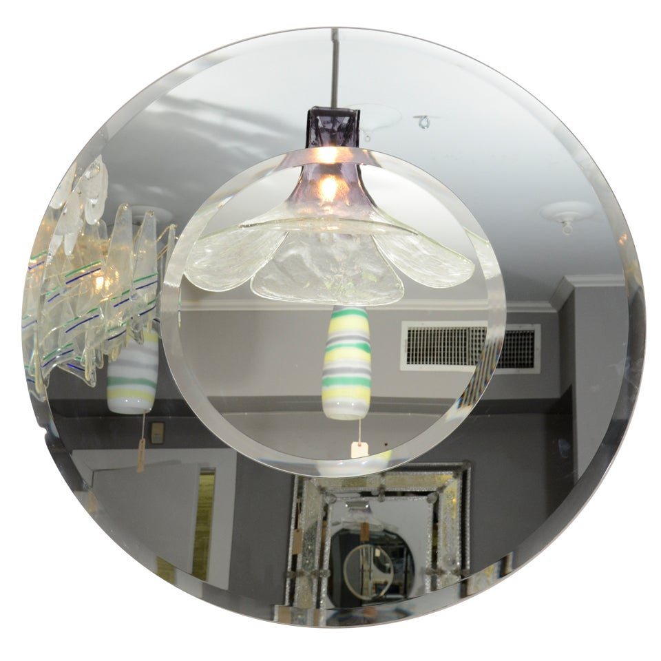 Round Beveled Mirror with Bold Smoke Glass Border