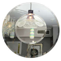 Custom Round Mirror with Smoke Glass Border