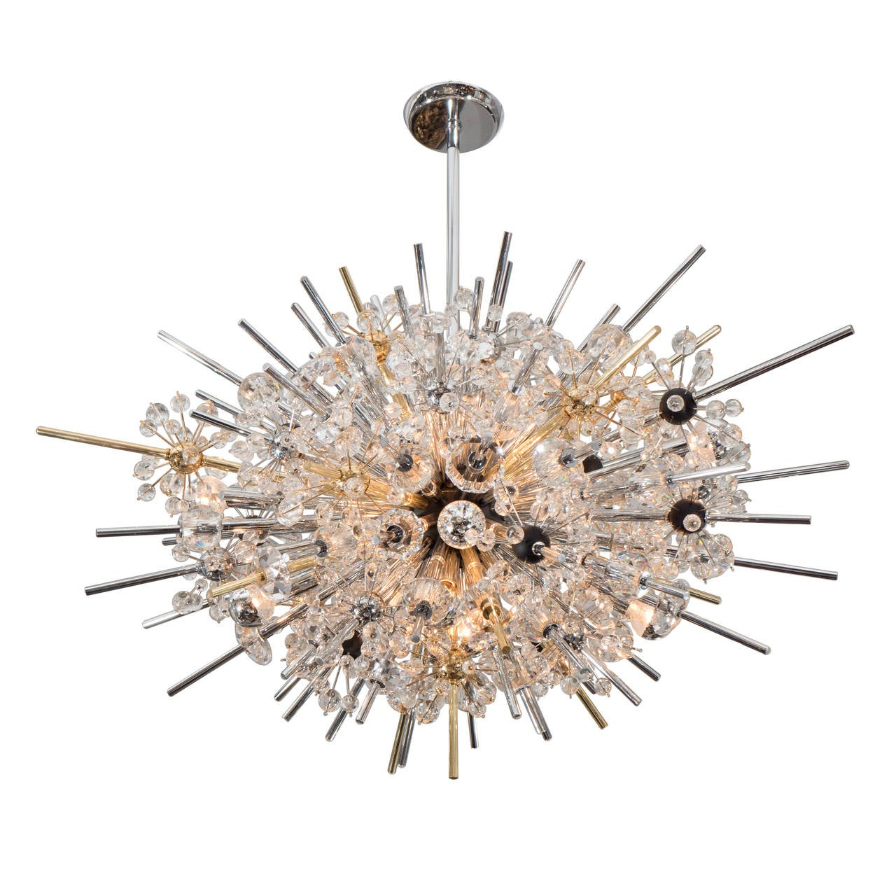 Crystal Sputnik with Brass and Polished Nickel Frame
