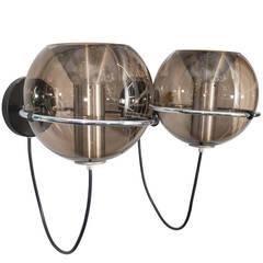Pair of 1970s RAAK Smoke Glass Globe Sconces