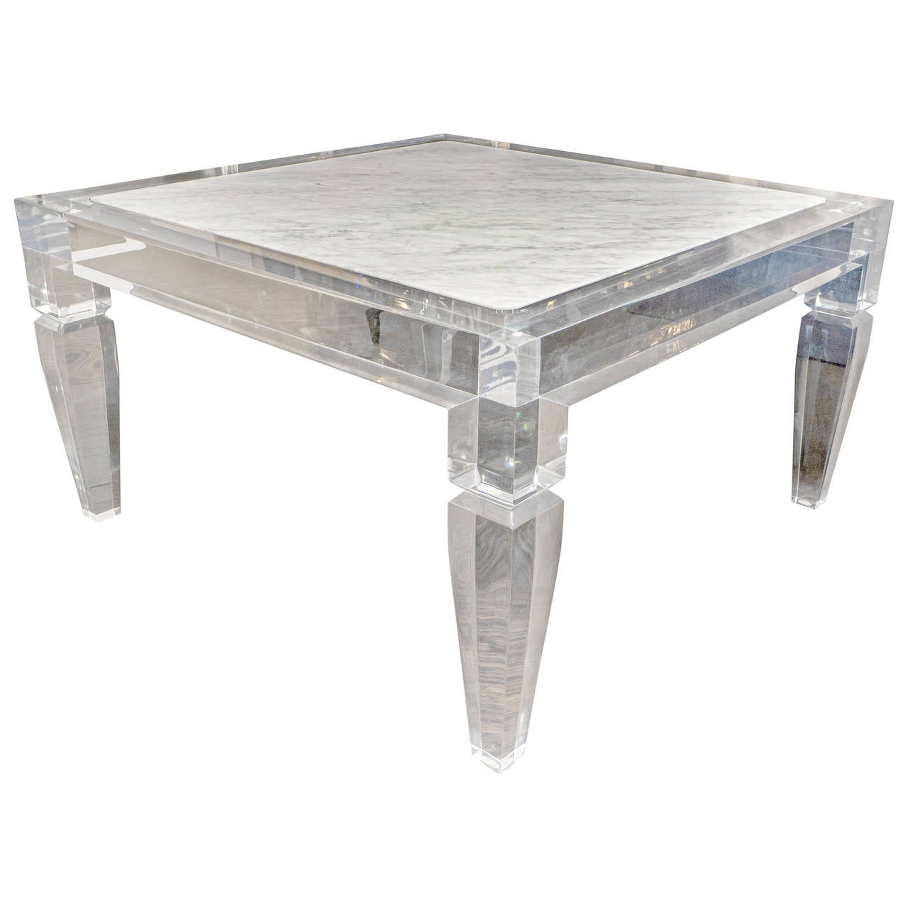 Custom Lucite Table With Carrera Marble Inset Top For Sale At 1stdibs