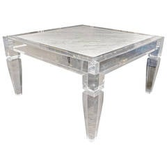 Custom Lucite Table with Carrara Marble Inset Top