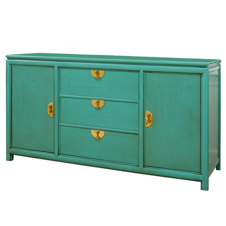 Fabulous Vintage Buffet By Thomasville In Turquoise Lacquer For
