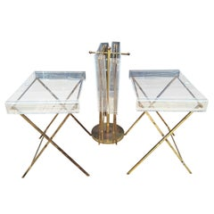 Charles Hollis Jones Clear Lucite and Brass Serving Trays