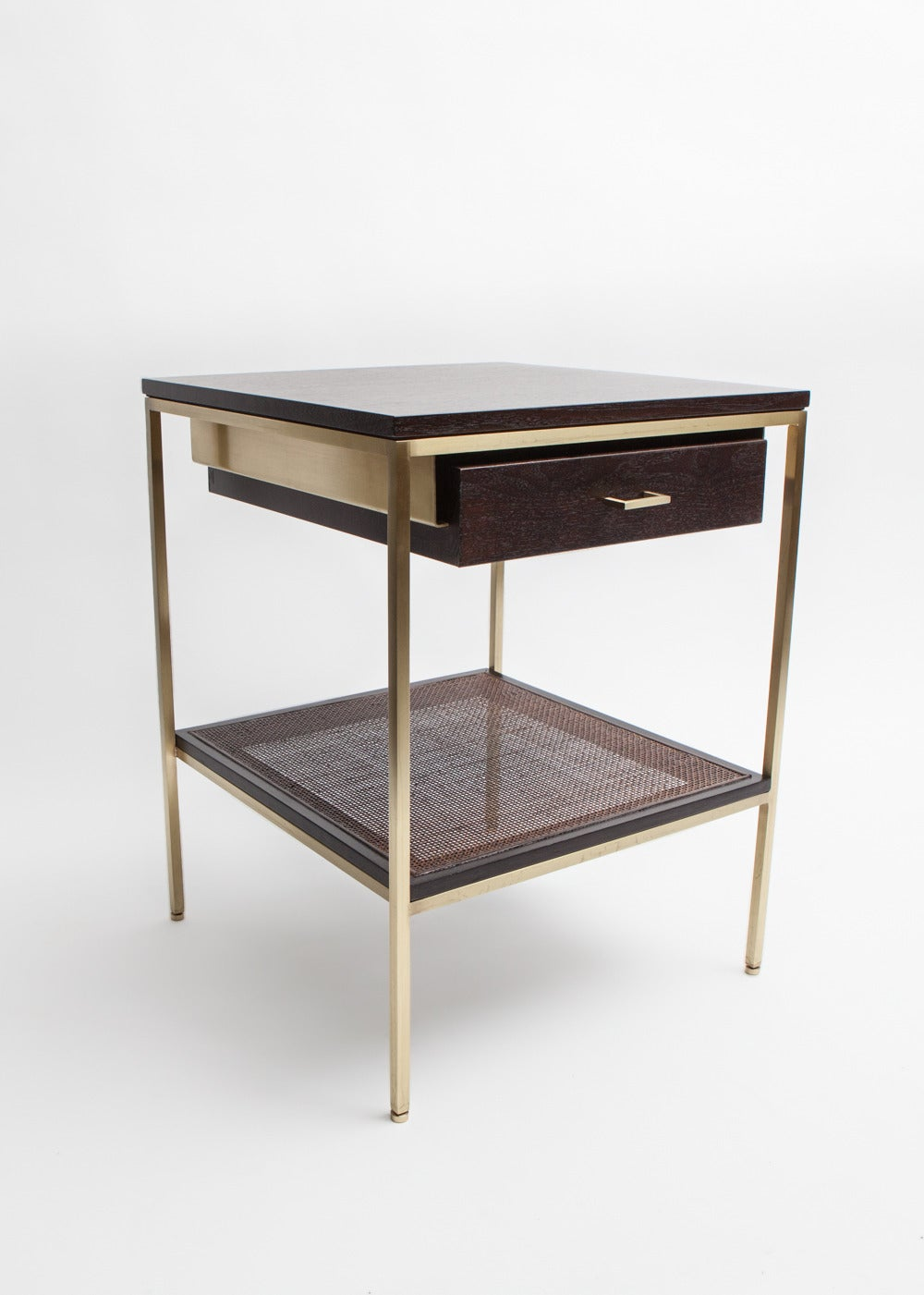 Pair of reGeneration Custom Ebony and Caned Bedside Tables In Excellent Condition For Sale In New York, NY
