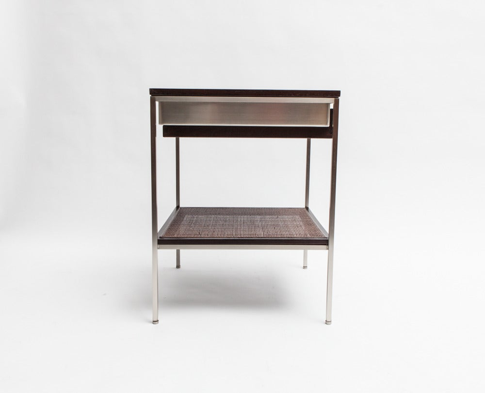 Pair of reGeneration Custom Ebony and Caned Bedside Tables For Sale 1