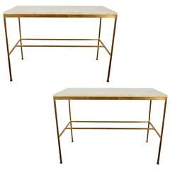 Paul McCobb Travertine and Brass Console Table, Manufactured by Calvin