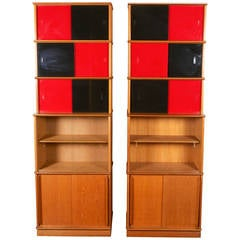 Pair of French, Glass and Oak Bookcases by Didier Rozaffy