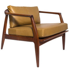 Milo Baughman Leather and Walnut Lounge Chair by Thayer Coggin, 1960s