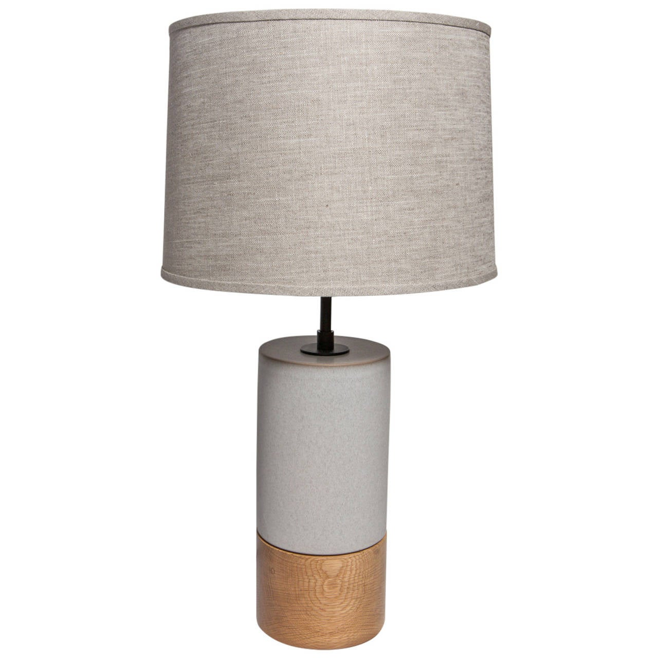 Short Baxter Ceramic And Oak Table Lamps By Stone And