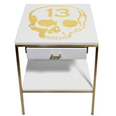 White Lacquered Bedside Tables with Gold Leafed Icons by Dylan Egon