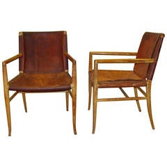 Rare and Important Pair of Robsjohn-Gibbings Armchairs, 1940