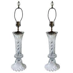 Pair of Swirled Glass Lamps
