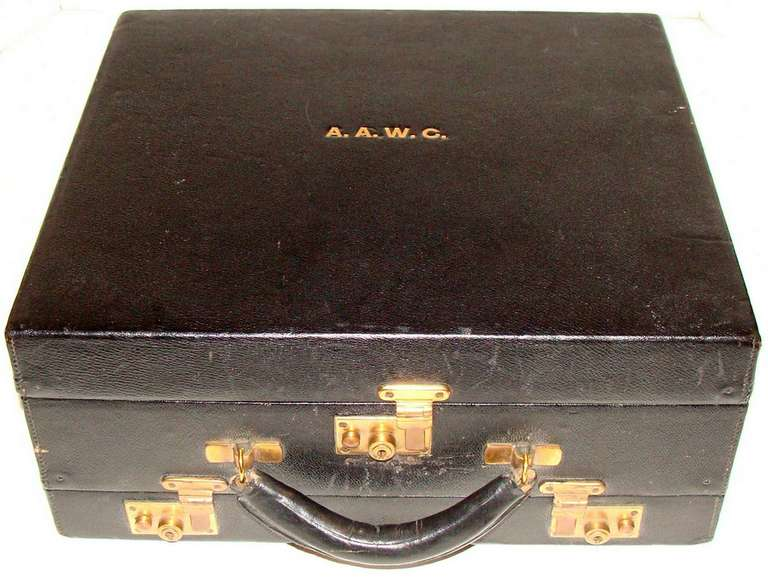 Asprey Vintage Leather Grooming Travel Case London 1912 At