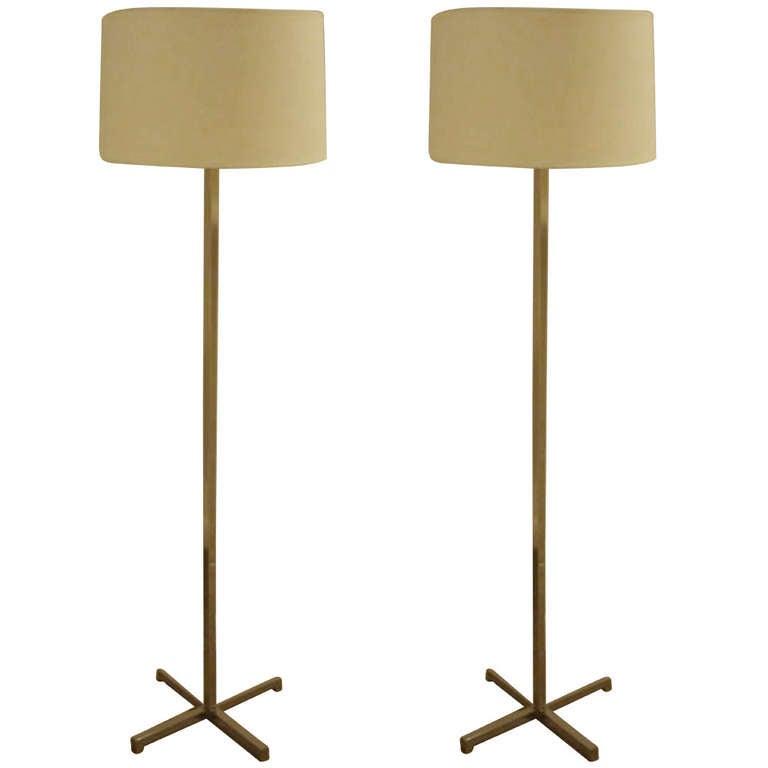 pair of nessen mid century floor lamps at 1stdibs. Black Bedroom Furniture Sets. Home Design Ideas