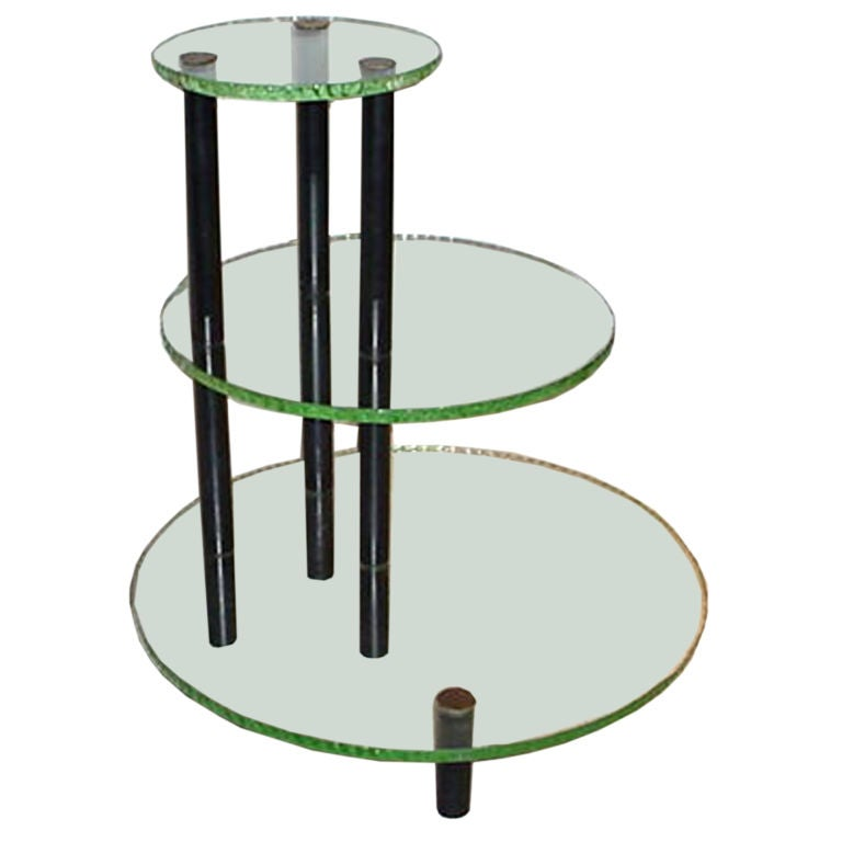 Three-Tier Table in the Style of Fontana Arte For Sale