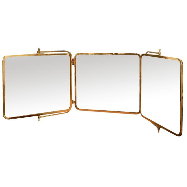 Three Panel Solid Brass Hanging Mirror At 1stdibs