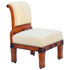 Unusual Carved Oak Chair in the Style of Carlo Bugatti