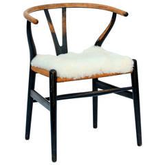 Ebonized Teak and Rope Wishbone Chair by Hans Wegner