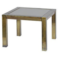 French 60's Patinated Brass and Bronze Mirrored Side Table
