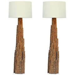 Pair of Impressive Tall Twig Table or Floor Lamps with Custom Drum Shades