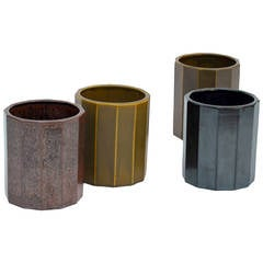 Set of 4 Decorative Japanese Glazed Clay Faceted Vases / Pots