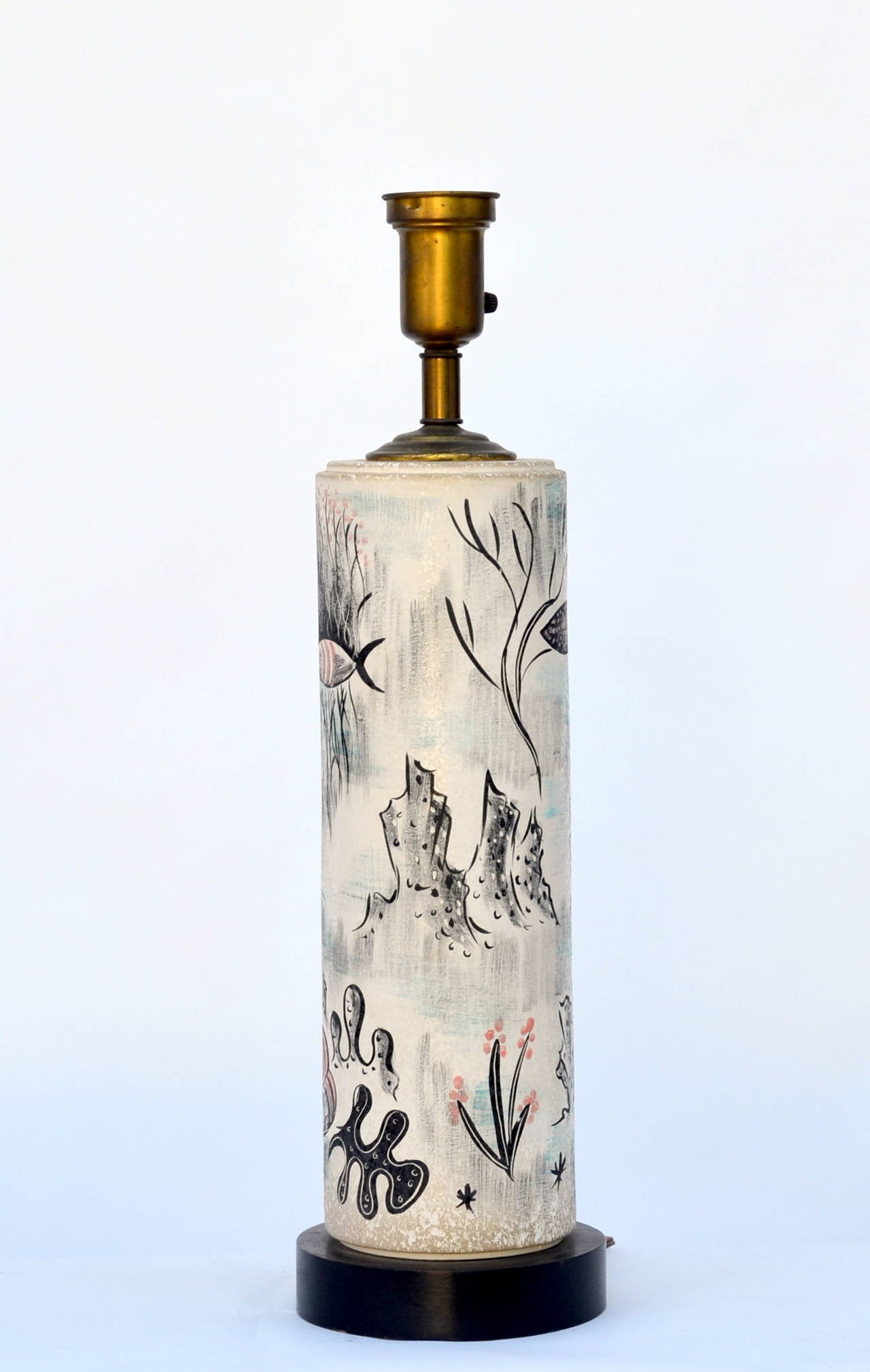 Modern Rare Hand Painted Cylinder Table lamp by TYE of California For Sale