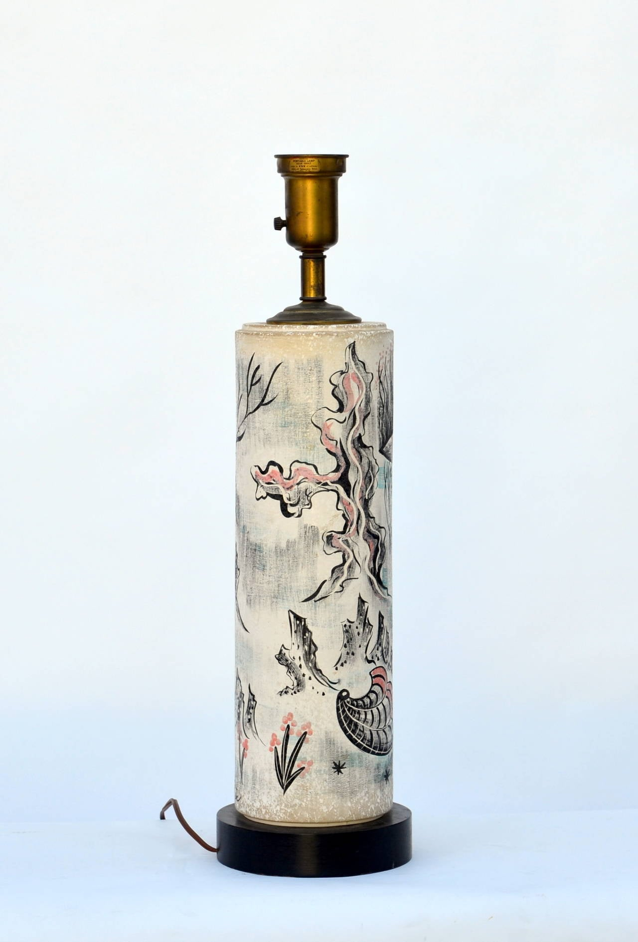 Rare Hand Painted Cylinder Table lamp by TYE of California In Good Condition For Sale In Los Angeles, CA