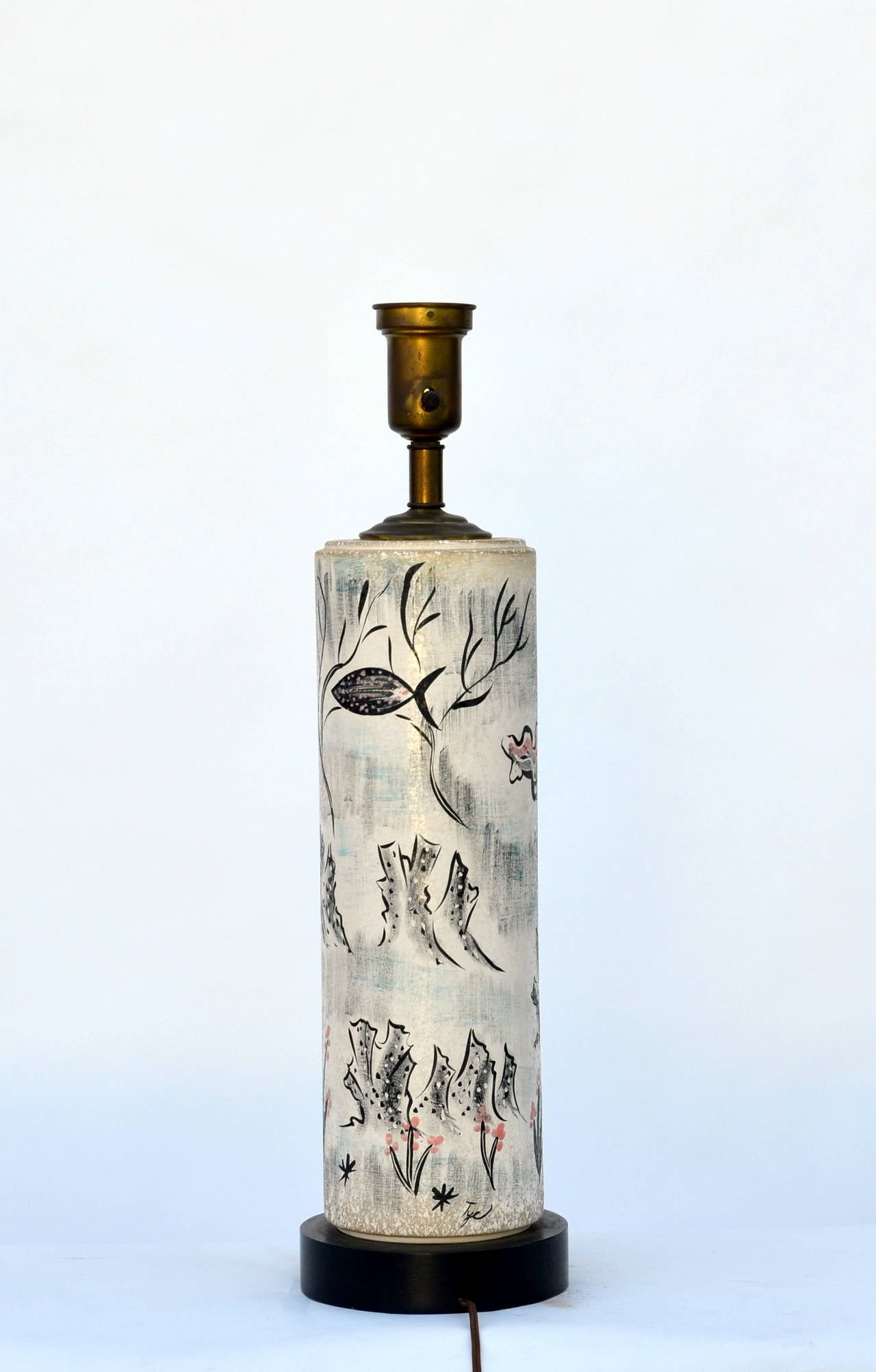 Mid-20th Century Rare Hand Painted Cylinder Table lamp by TYE of California For Sale