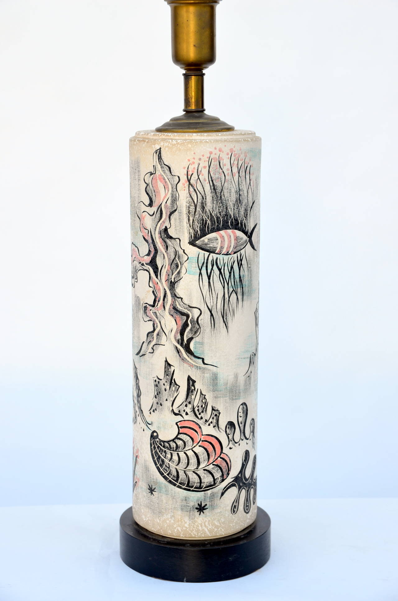 Rare Hand Painted Cylinder Table lamp by TYE of California For Sale 1