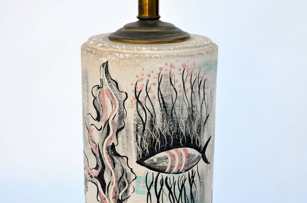 Rare Hand Painted Cylinder Table lamp by TYE of California For Sale 2