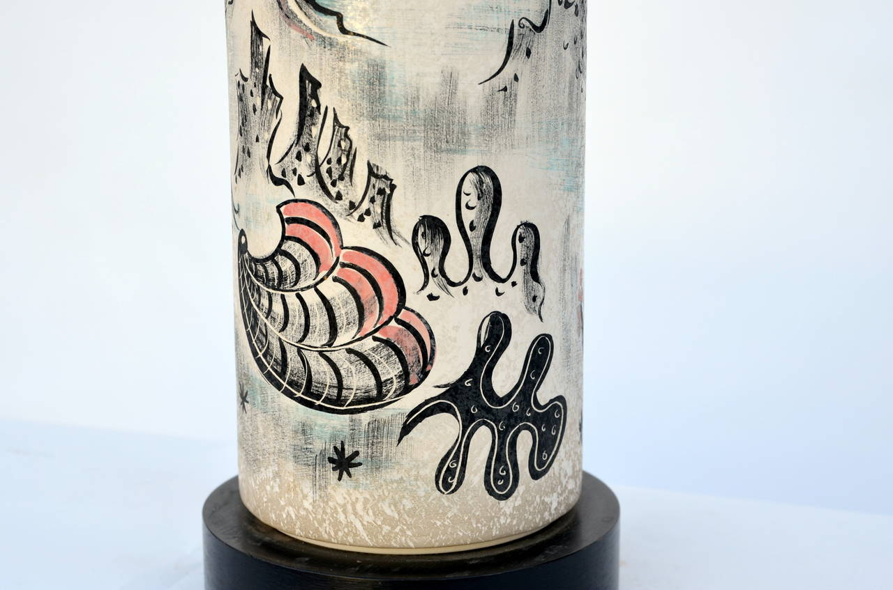 Rare Hand Painted Cylinder Table lamp by TYE of California For Sale 3