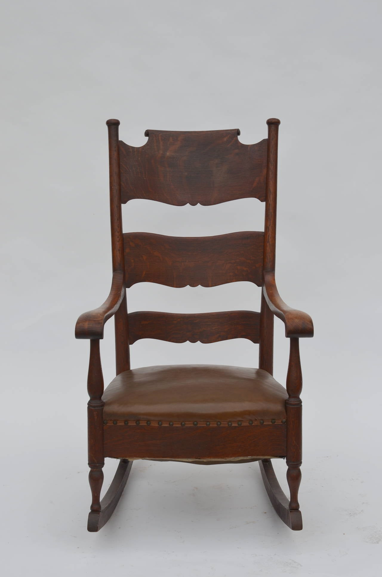 Comfortable Arts And Crafts Carved Oak Rocking Chair At