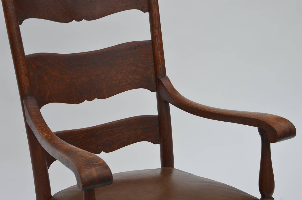 fortable Arts and Crafts Carved Oak Rocking Chair at