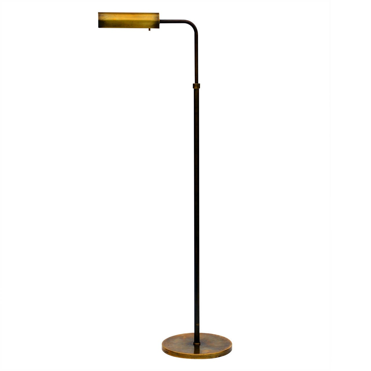 chic adjustable brass floor reading lamp at 1stdibs