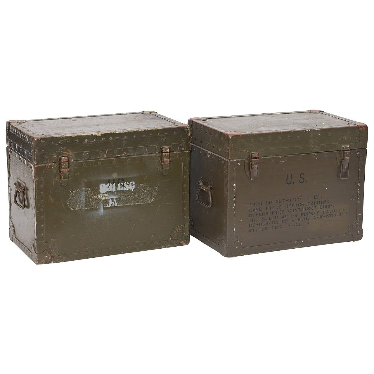 Pair Of Solid Military Trunk Side Tables / Coffee Table At