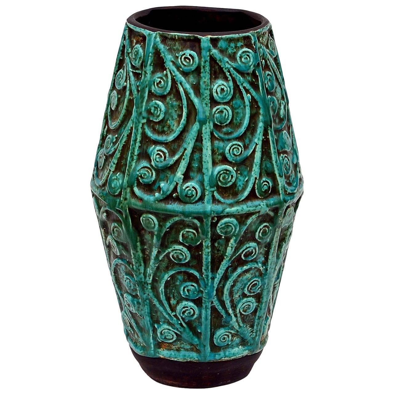 Large Intricate Art Deco Ceramic Vase