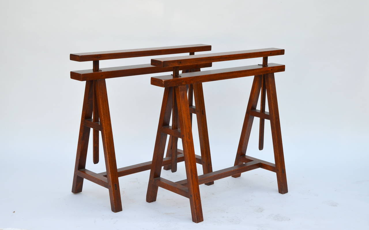 pair of sturdy architectural craftsman trestle table bases