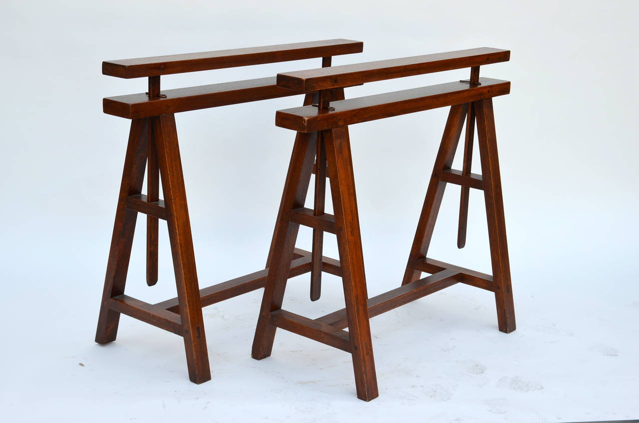 Pair Of Sturdy Architectural Craftsman Trestle Table Bases. Adjustable From  29 In. To 39