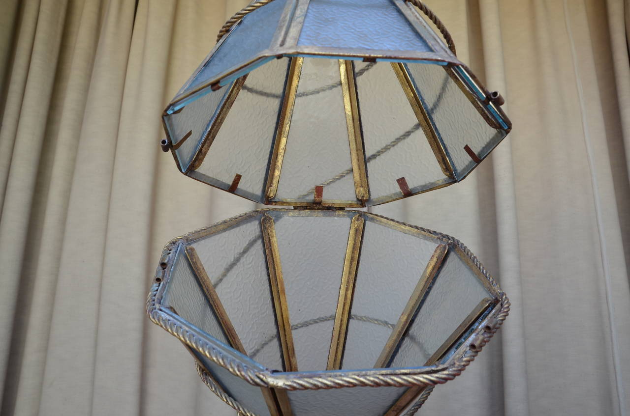 Cut Glass Large Italian Glass and Gilt Metal Geometric Hanging Lantern For Sale