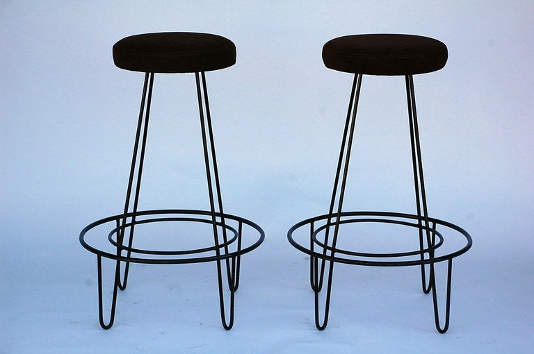 Pair Of Minimalistic Bar Stools With Brown Suede Seats At