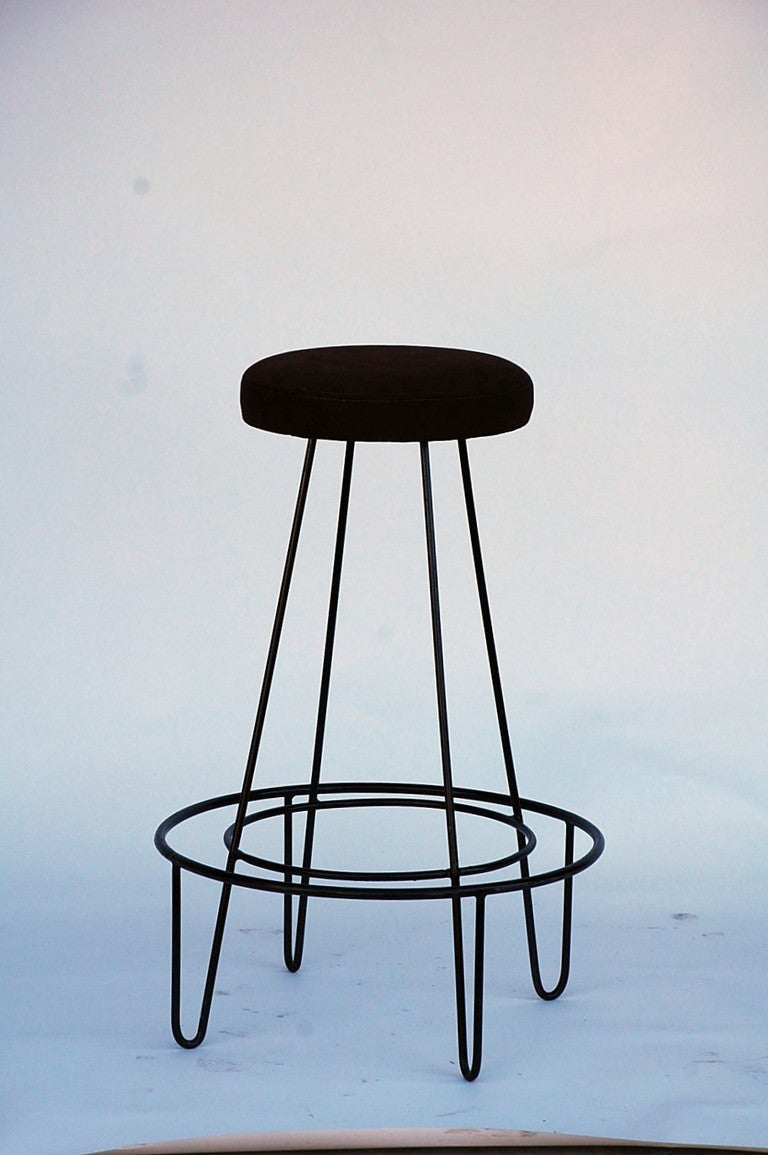Astounding Pair Of Minimalistic Bar Stools With Brown Suede Seats At Gmtry Best Dining Table And Chair Ideas Images Gmtryco