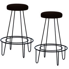 Pair of minimalistic bar stools with brown suede seats